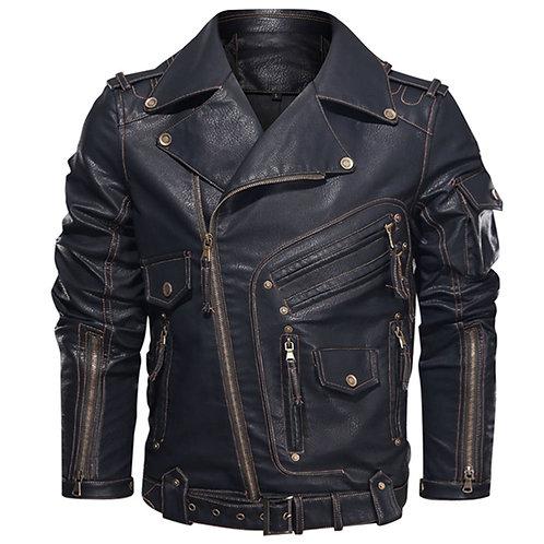 男時尚摩托車酷拉鍊口袋仿皮外套 Fashion Biker Cool Zipper Pockets Leather PU Coat