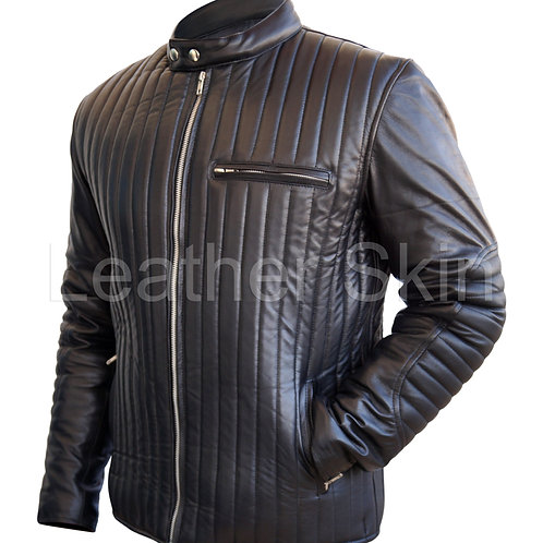 男士黑色羅紋真皮夾克 Men Black Rib Quilted Leather Jacket