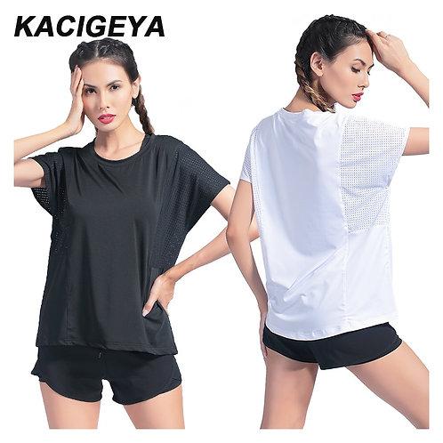 跑步拼布網狀瑜伽健身上衣 Breathable Women Sport Shirt