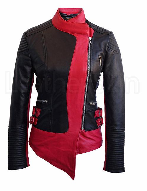 黑紅拼接感不對稱真皮外套Black and red stitching asymmetrical leather jacket
