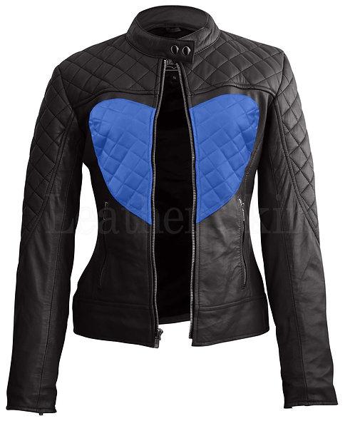 藍色愛心女性真皮外套 Women Black Blue Heart Leather Jacket
