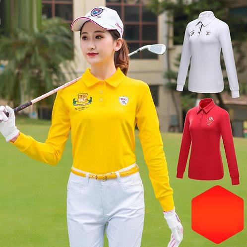女子長袖純色專業高爾夫球衫 Women's long-sleeved solid color professional golf shirt