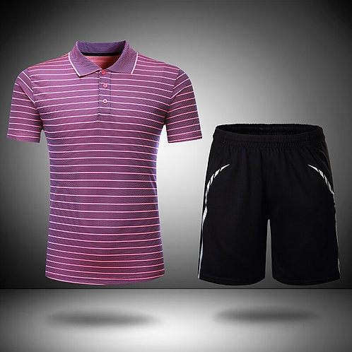 橫線條氣質排汗POLO運動套裝 Horizontal line temperament wicking POLO sports suit