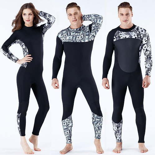 3mm氯丁橡膠男女印花連身衝浪潛水衣 3mm Neoprene Male Female Printing Siamese Wetsuit