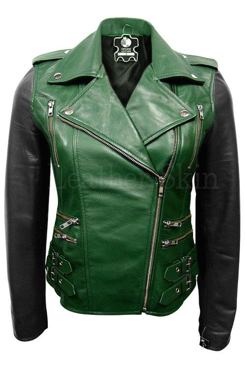綠底黑袖搖滾女性真皮外套Rock Women's Leather Jacket with Green Bottom and Black Sleeves