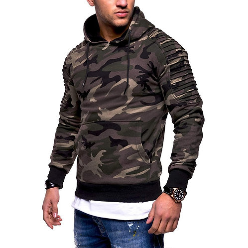 男性條紋迷彩長袖帽衫Men's Pullover Hooded Striped Pleated Long Sleeve Camouflage