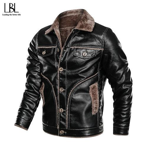 風衣搖粒絨PU皮革頂級男夾克 Men Windbreaker Fleece PU Leather