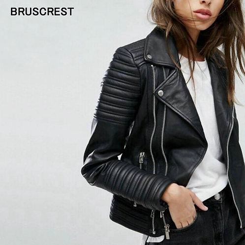 復古PU皮革女帥氣夾克 Vintage PU Leather Moto Jacket Women