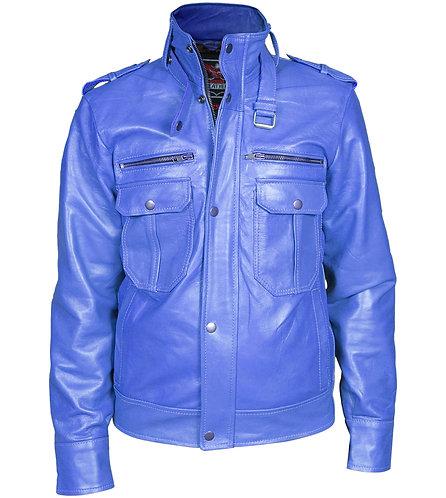 藍色真皮騎士外套 Men Blue Biker Leather Jacket