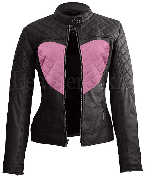 粉色愛心女性真皮外套Pink Heart Women's Leather Jacket