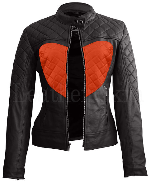 橘紅色愛心女性真皮外套 Tangerine heart women's leather jacket