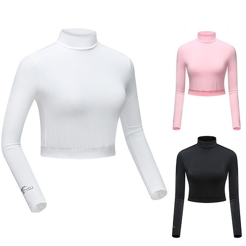 女子長袖短版高爾夫球衫 Women's Long Sleeve Short Golf Shirt