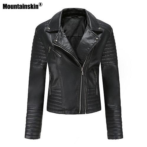 女士摩托車修身拉鍊PU皮夾克 Women Motorcycle Slim Fit PU Leather Jacket
