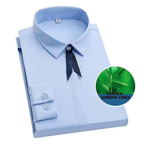 女士竹纖維商務純色優雅布魯薩斯百搭襯衫Bamboo Fiber Solid Blouse Women Business Shirts