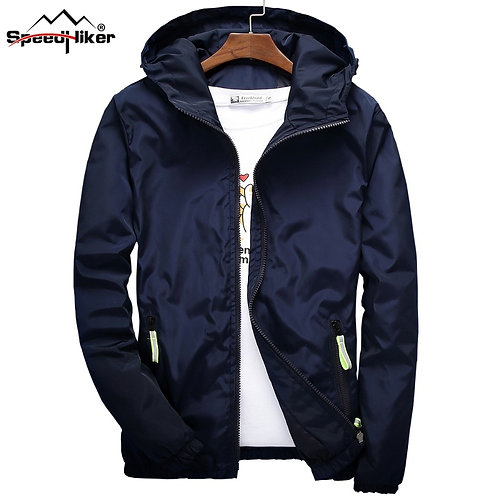 男子防水風衣連帽薄夾克Waterproof slim fit Hooded Jacket