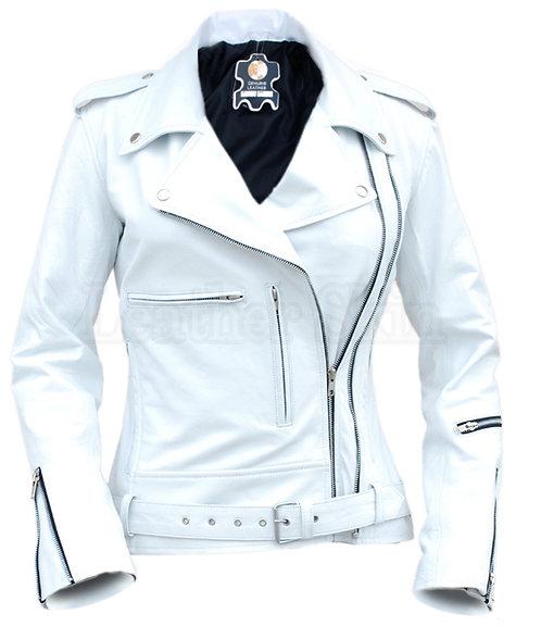 時尚純白Brando騎士真皮夾克 Fashion pure white knight Brando leather jacket