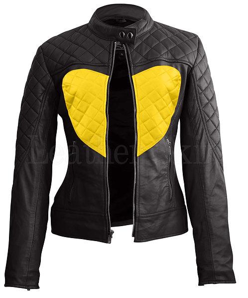 黃色愛心女性真皮夾克 Yellow Heart Women's Leather Jacket