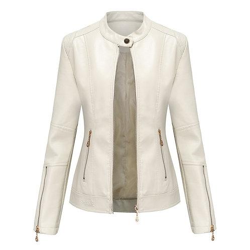 女性修身皮外套Women Thin Leather Jacket