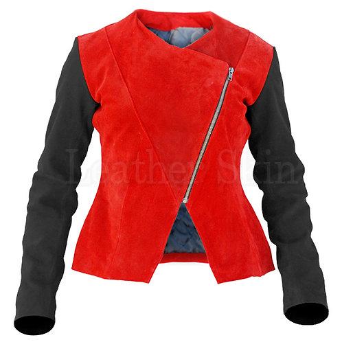 女士紅色絨面真皮夾克 Women Red Suede Leather Jacket
