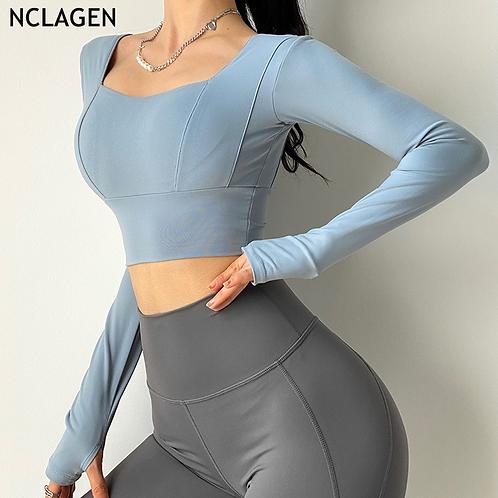 立體剪裁加強塑腰瑜伽長袖衫Three-dimensional tailor reinforced waist yoga long sleeve