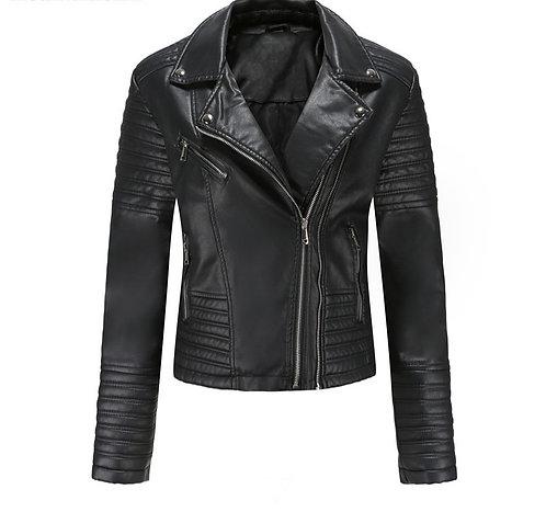 商務修身拉鍊PU騎士夾克 Business Slim Zip PU Knight Jacket