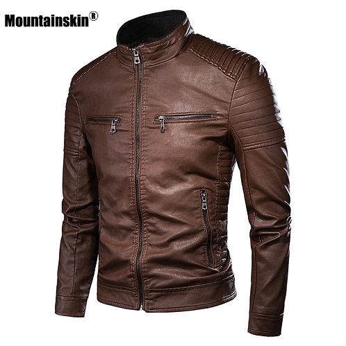 男士拉鍊純色時尚修身PU外套 Biker Slim Fit PU Jacket