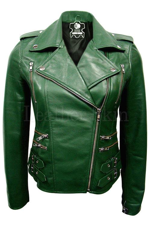 自然綠女性真皮夾克Natural Green Women's Leather Jacket