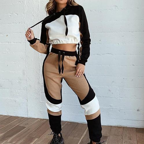 女兩件式休閒運動套裝 Tracksuit Set Women Long Sleeve Hooded