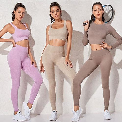 3件式無縫高腰長袖運動服 Women's Set Seamless Sports Suit High Waist