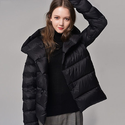 冬季大衣超輕90%鵝絨連帽厚實保暖防風羽絨服 Ultra Light 90% Hooded Loose Thick White Duck Down Coat