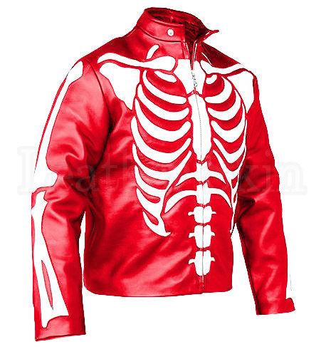 紅底白骷髏重機皮夾克Red background and white skull heavy machine leather jacket