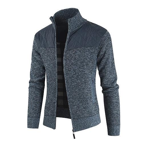 英國紳士拼接立領保暖羊毛外套British gentleman stitching stand-collar wool coat