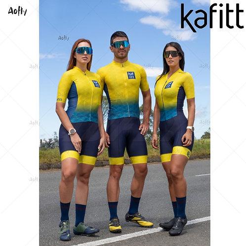 Kafitt黃色立方男女短袖自行車連身褲  Kafitt Yellow Cubes  Short-Sleeved Cycling Jumpsuit