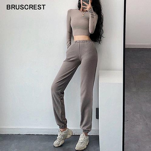 高腰棉質運動褲High Waist Sweatpants Women