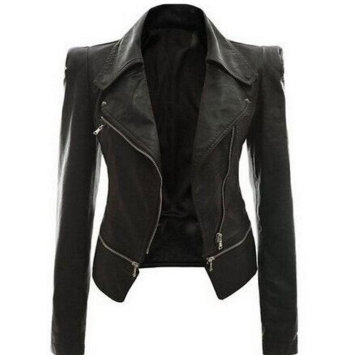 女士時尚黑色人造皮外套 Women Fashion Black Faux Leather Coat