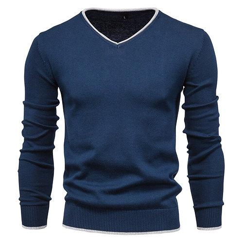 優質型男純棉套頭V領長袖衫High-quality cotton pullover V-neck long-sleeved shirt