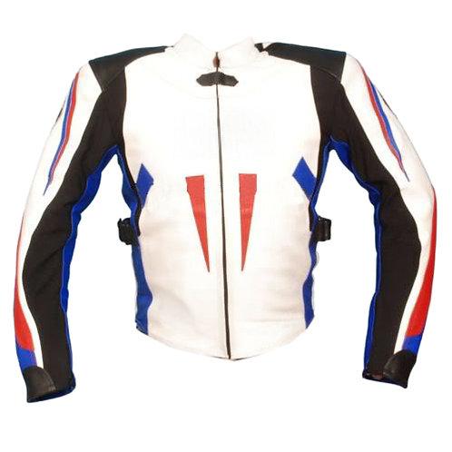 白底藍紅線條修身重機夾克Slim-fit heavy machine jacket with blue and red lines on white