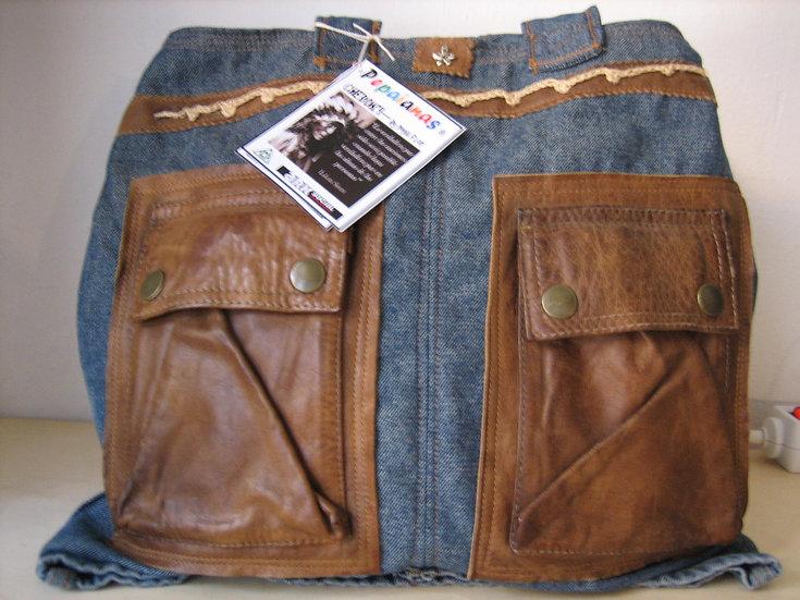 Bolso de pell i texà / Bolso de piel y tejano / Bag denim and leather