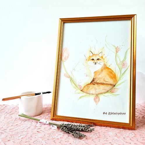 aquarelle animale renard blaciy nhaa