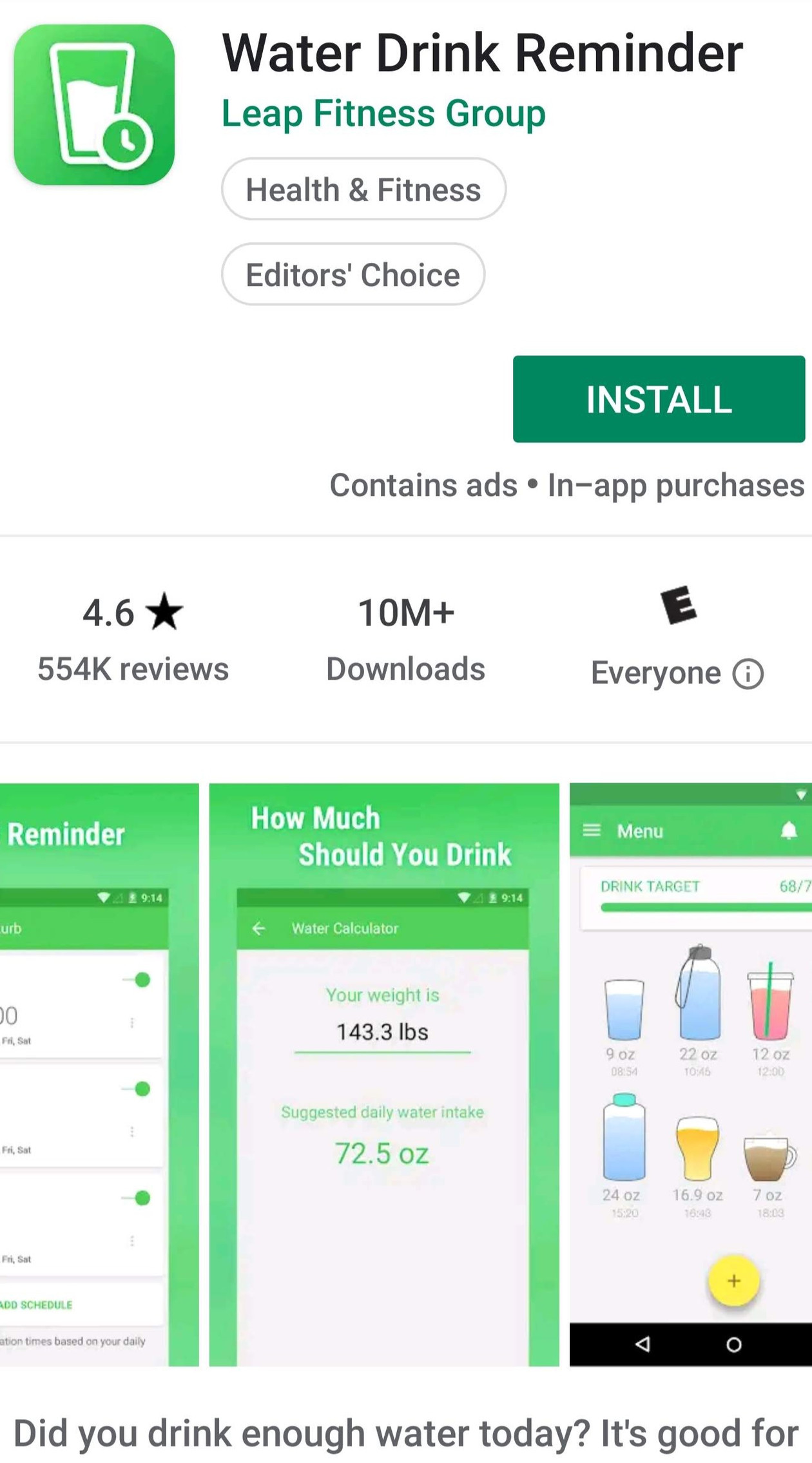 Water Drink Reminder on Google Play