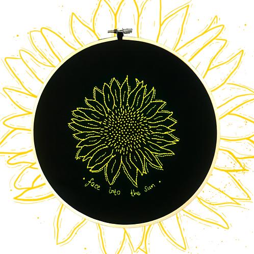 Dark Sunflower Hoop Art