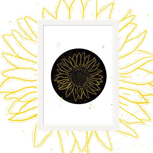 Dark Sunflower Wall Art