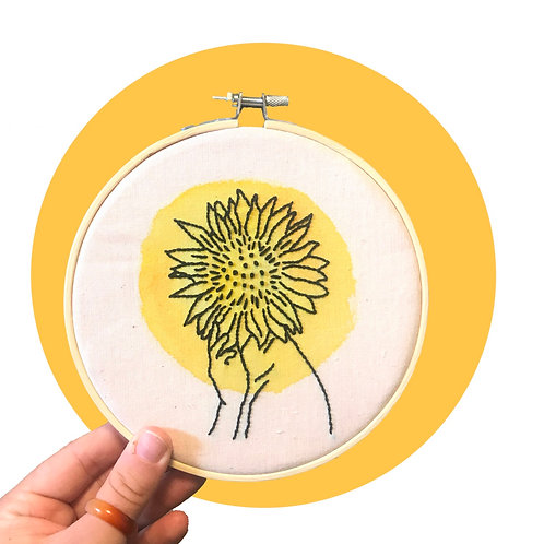 "'Sunflowers on my Mind' 6"" Hoop Art"