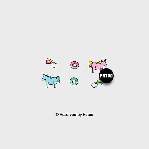 Unicorn N Donut | Patoo™ Original Designed Temporary Tattoo