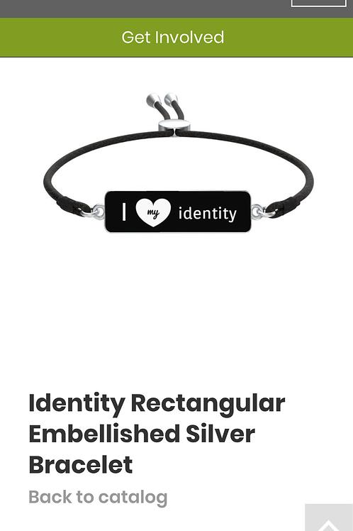 Identity Rectangular Embellished Silver Bracelet