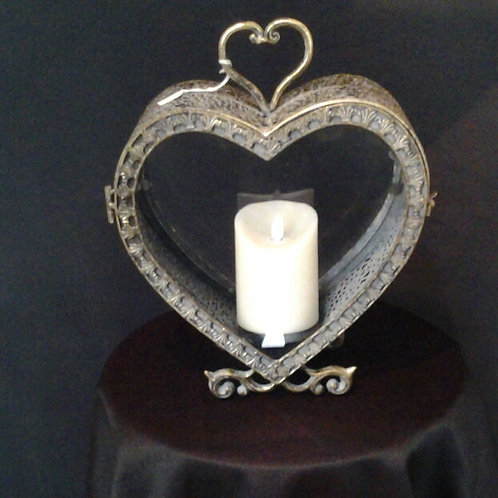 Rustic Metal And Glass Heart Candle Holder