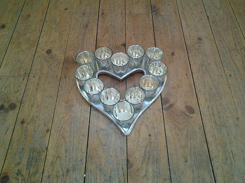 Cast Aluminium Heart Votive Tray-Mercury Glass
