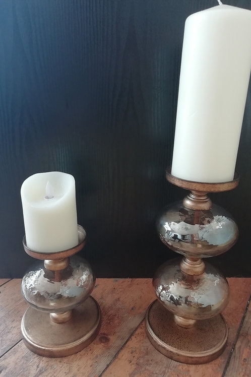 Glass Bubble Pillar Candle Holder