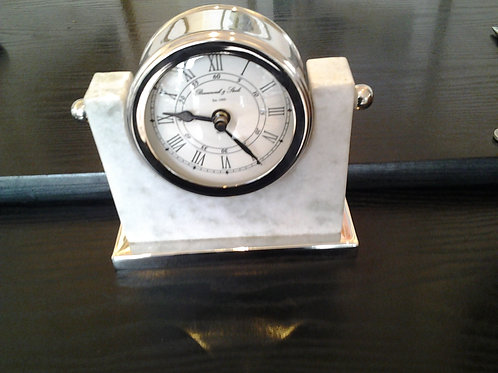 Marble And Nickel Table Clock