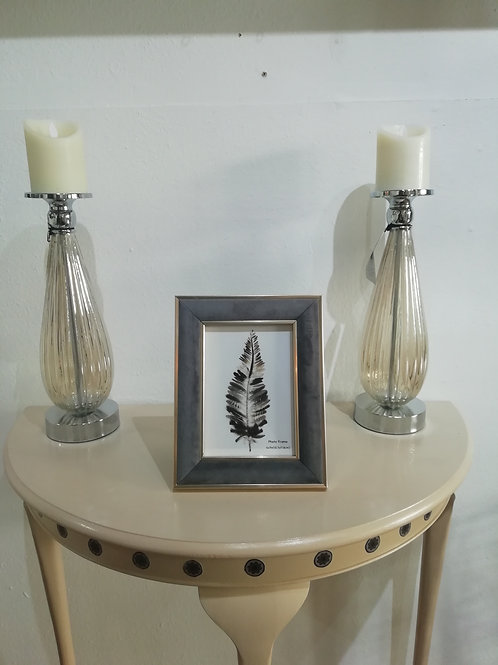 Grey Velvet With Gold Picture Frame